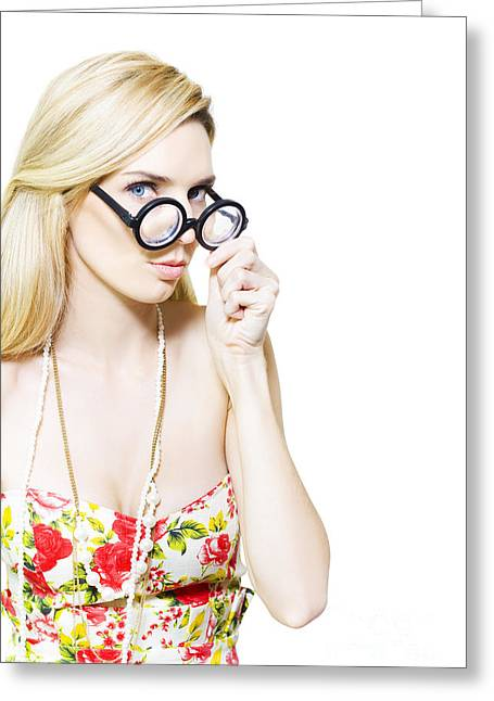Stereotypical Nerd In Glasses Greeting Card by Jorgo Photography - Wall Art Gallery