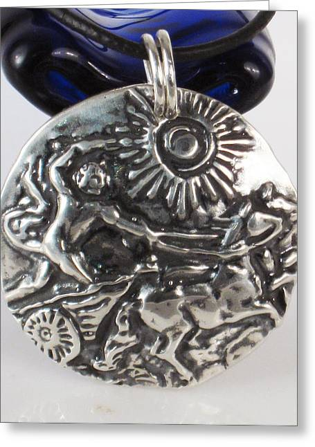 Celtic Necklace Greeting Cards - Sterling Silver Apollo with Chariot to the Sun Greeting Card by Virginia Vivier -  Esprit Mystique