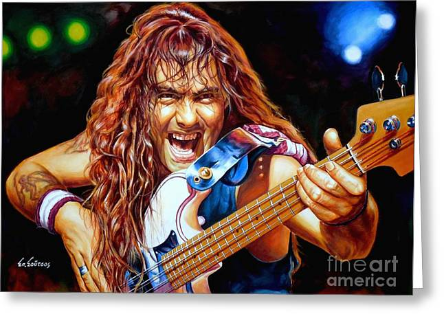 Iron Maiden Greeting Cards - Steve Harris Iron Maiden Greeting Card by Spiros Soutsos