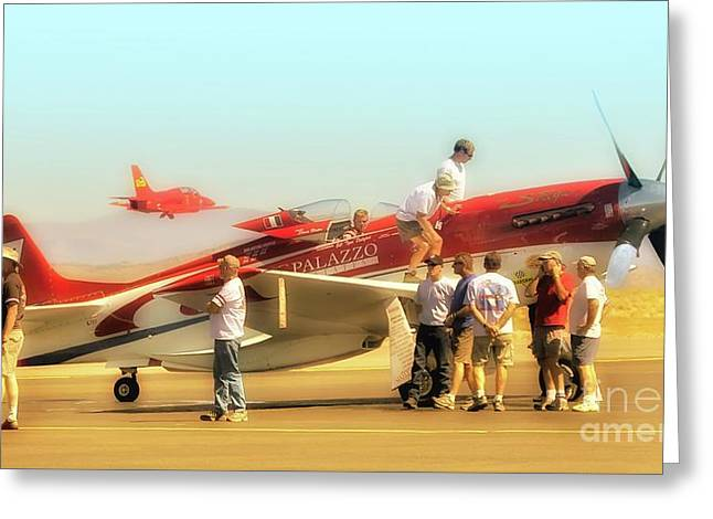 Reno Air Races Greeting Cards - Steve Hinton and Strega Posse Take A Break       Greeting Card by Gus McCrea