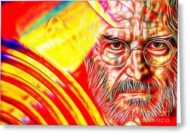Electronics Mixed Media Greeting Cards - Steve Jobs in Color Greeting Card by Daniel Janda