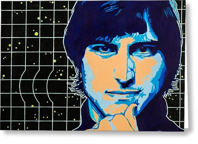 Hand On Chin Greeting Cards - Steve Jobs Greeting Card by Joe Ciccarone