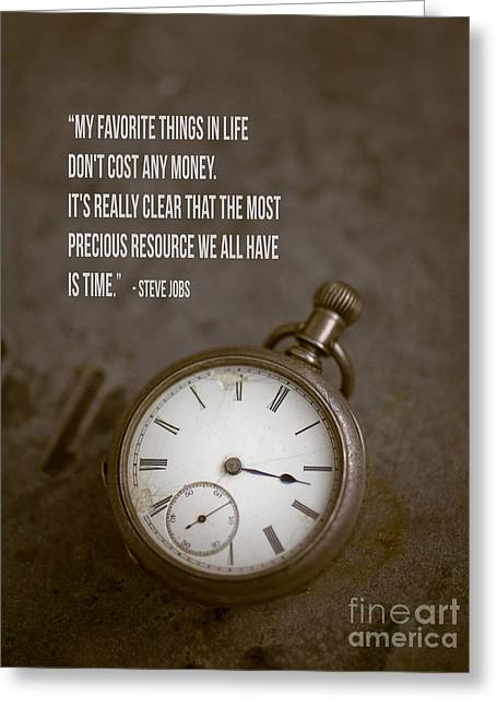 Steve Jobs Time Quote Greeting Card by Edward Fielding