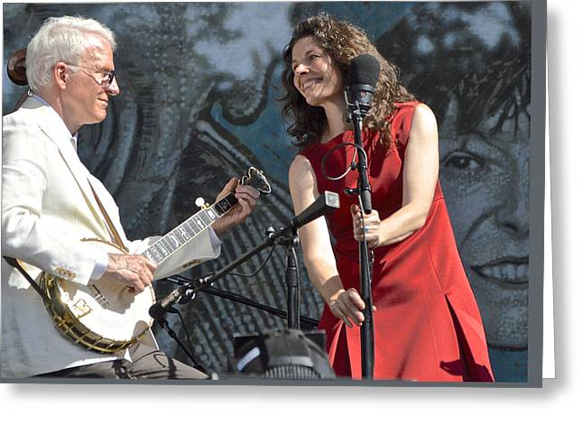 Live Art Greeting Cards - Steve Martin and Edie Brickell with the Steep Canyon Rangers Greeting Card by Debra Amerson