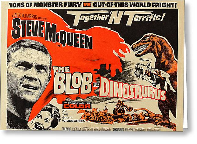 1964 Movies Greeting Cards - Steve McQueen in The Blob Greeting Card by Michael Braham
