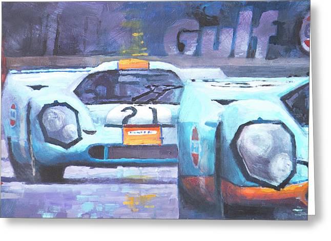 1970 Greeting Cards - Steve McQueen Le Mans Porsche 917 01 Greeting Card by Yuriy Shevchuk