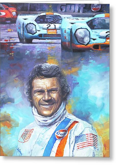 1970 Greeting Cards - Steve McQueen Le Mans Porsche 917 Greeting Card by Yuriy Shevchuk