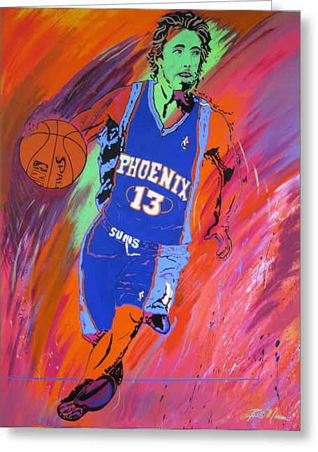 Famous Basketball Players Greeting Cards - Steve Nash-Vision of Scoring Greeting Card by Bill Manson