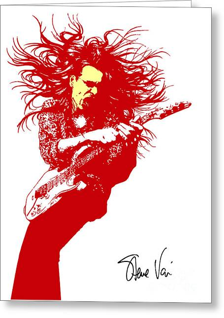 Rock Guitar Player Greeting Cards - Steve Vai No.01 Greeting Card by Caio Caldas