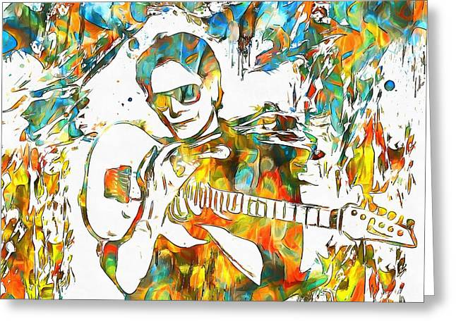 Frank Zappa Greeting Cards - Steve Vai Paint Splatter Greeting Card by Dan Sproul