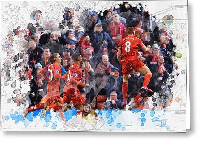 Football Collectibles Greeting Cards - Steven Gerrard celebrates with his teammates Greeting Card by Don Kuing