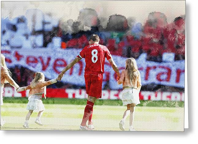 Football Collectibles Greeting Cards - Steven Gerrard walks out for his final game at Anfield with fami Greeting Card by Don Kuing