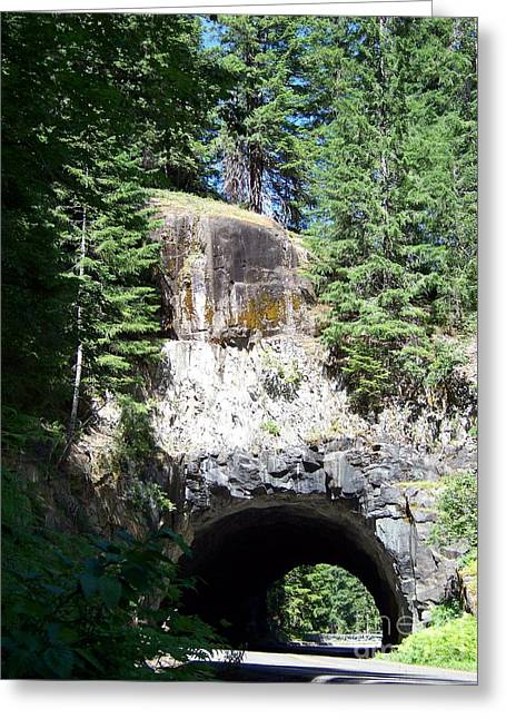 Stevens Canyon Road Tunnel Greeting Card by Charles Robinson