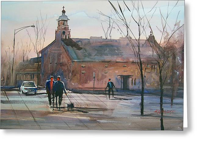Street Scenes Greeting Cards - Stevens Point Church Greeting Card by Ryan Radke