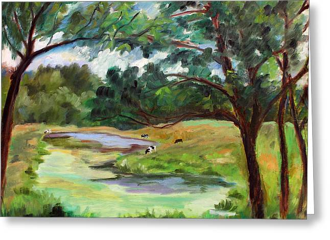 Lanscape Paintings Greeting Cards - Stevenson Rd. Pond Greeting Card by Ethel Vrana