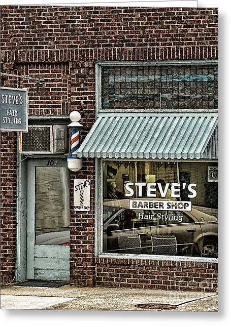 Store Fronts Greeting Cards - Steves Barber Shop Greeting Card by Audra  Farnham
