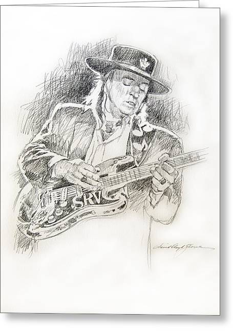 Player Drawings Greeting Cards - Stevie Ray Vaughan - Texas Twister Greeting Card by David Lloyd Glover