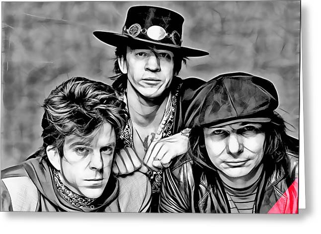Rock N Roll Mixed Media Greeting Cards - Stevie Ray Vaughan and Double Trouble Collection Greeting Card by Marvin Blaine