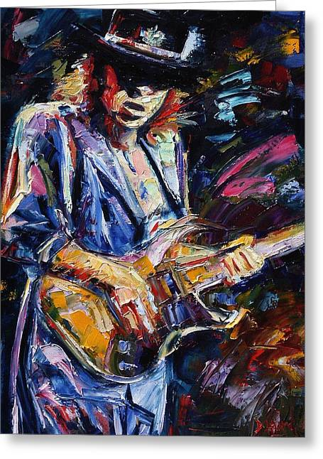 Ray Greeting Cards - Stevie Ray Vaughan Greeting Card by Debra Hurd