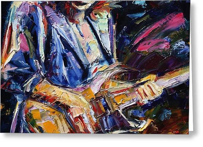 Stevie Ray Vaughan Greeting Card by Debra Hurd
