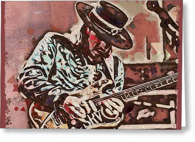 Most Influential Musician Greeting Cards - Stevie Ray Vaughan Graffiti Portrait Greeting Card by Scott Wallace