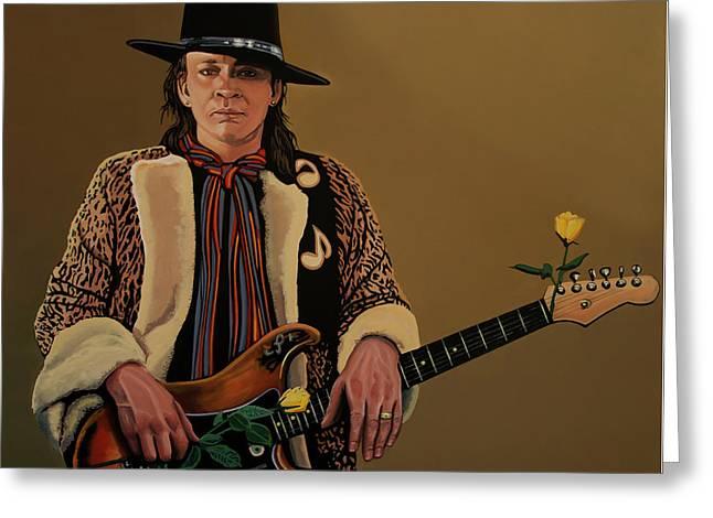 Stevie Ray Vaughan Greeting Card by Paul Meijering