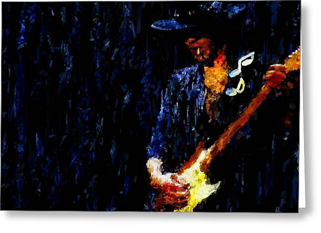 Leon Jimenez Greeting Cards - Stevie Ray Vaughan Signed Prints available at laartwork.com Coupon Code KODAK Greeting Card by Leon Jimenez