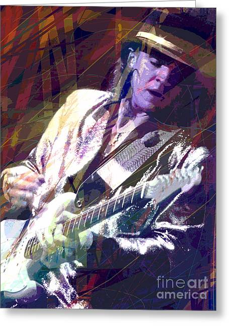 Best Sellers Paintings Greeting Cards - Stevie Ray Vaughan Texas Blues Greeting Card by David Lloyd Glover