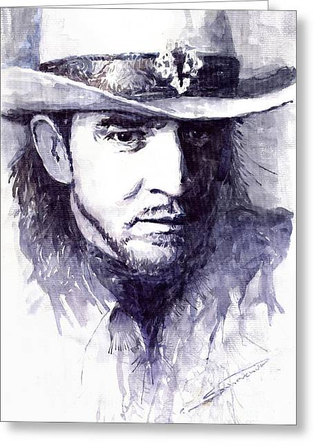 Guitarist Greeting Cards - Stevie Ray Vaughan Greeting Card by Yuriy  Shevchuk