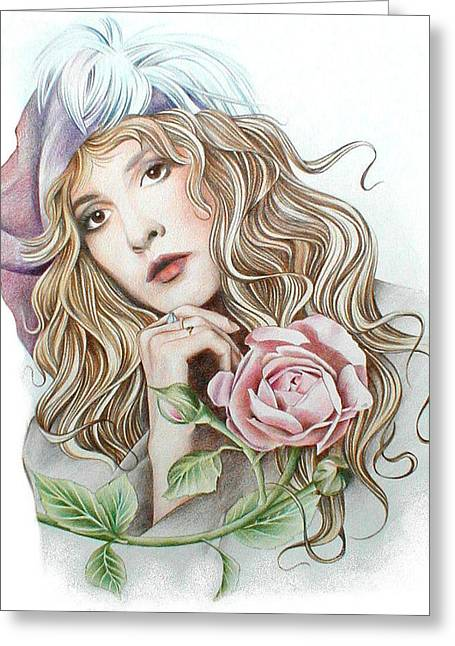 Stevie Nicks Greeting Cards - Stevie with Rose Greeting Card by Johanna Pieterman