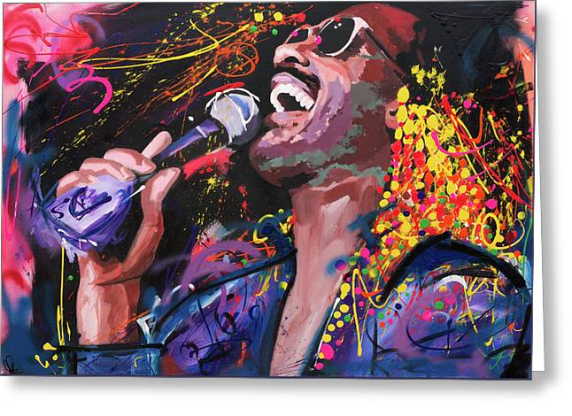 Rock N Roll Greeting Cards - Stevie Wonder Greeting Card by Richard Day