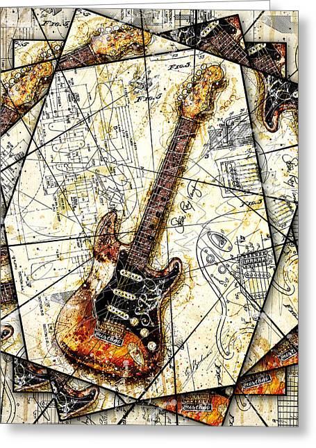 Stevie's Guitar V2 Greeting Card by Gary Bodnar