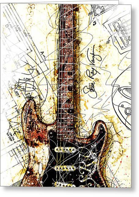 Stevie's Guitar Vert 1a Greeting Card by Gary Bodnar