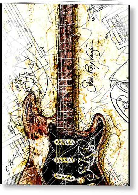 Stevie's Guitar Vert 1b Greeting Card by Gary Bodnar