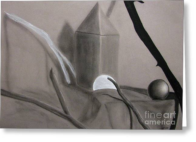 Charcoal Greeting Cards - Sticks and Stone Objects Greeting Card by Peter Piatt