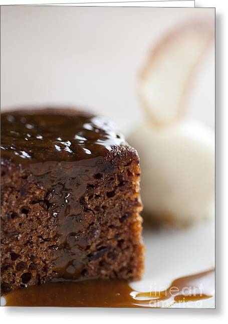 Toffee Greeting Cards - STICKY TOFFEE PUDDING traditional english dessert with ice cream and biscuit Greeting Card by Andy Smy