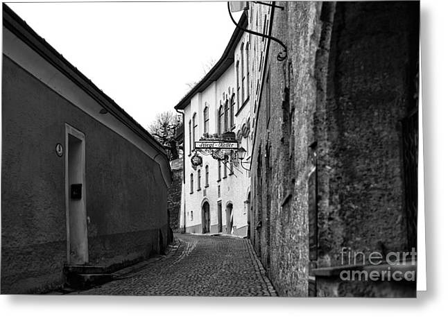 Salzburg Greeting Cards - Stiegl Keller Down the Street Greeting Card by John Rizzuto
