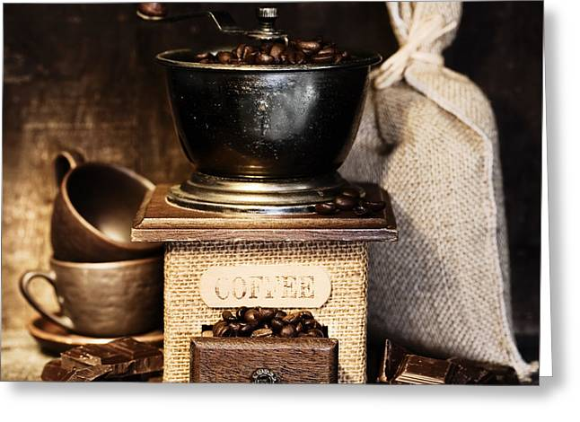 Stainless Steel Greeting Cards - Stiill life with Antique coffee grinder Greeting Card by Natalia Klenova