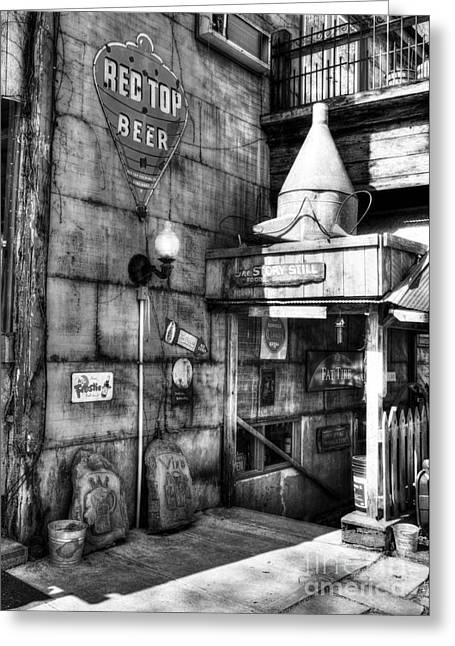 Booze Greeting Cards - Still At Story BW  Greeting Card by Mel Steinhauer