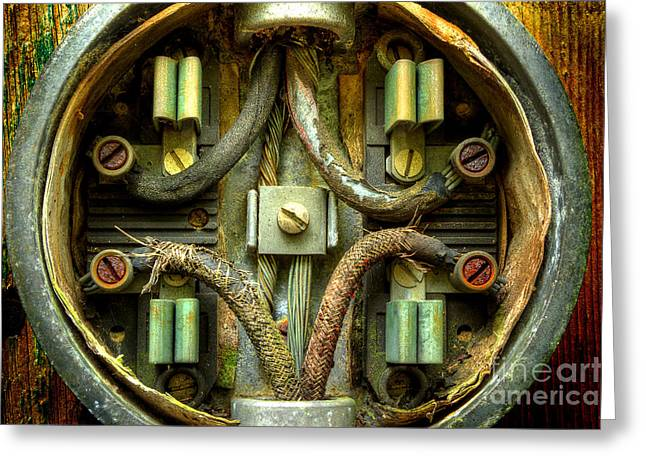 Electrical Meter Greeting Cards - Still Connected Greeting Card by Michael Eingle