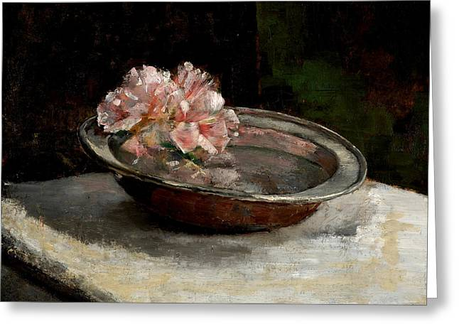 Marble Top Table Greeting Cards - Still Life Greeting Card by Abbott Handerson Thayer
