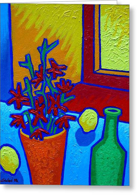 Lemon Art Greeting Card featuring the painting still Life At Yellow Window by John  Nolan