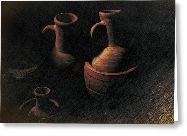 Still Life Clay Jugs Greeting Card by Frank Andree