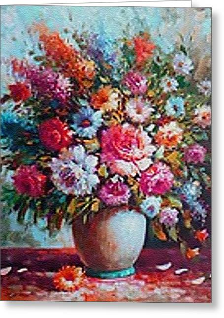 Abstract Digital Pastels Greeting Cards - Still-Life Crations Catus 1 no. 4 CI H B Greeting Card by Gert J Rheeders