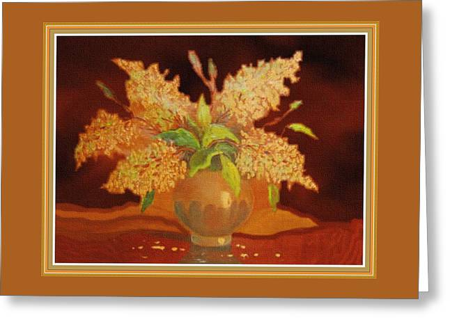 Still Life For Mathilda H B With Decorative Ornate Printed Frame. Greeting Card by Gert J Rheeders