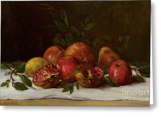 Apple Paintings Greeting Cards - Still Life Greeting Card by Gustave Courbet