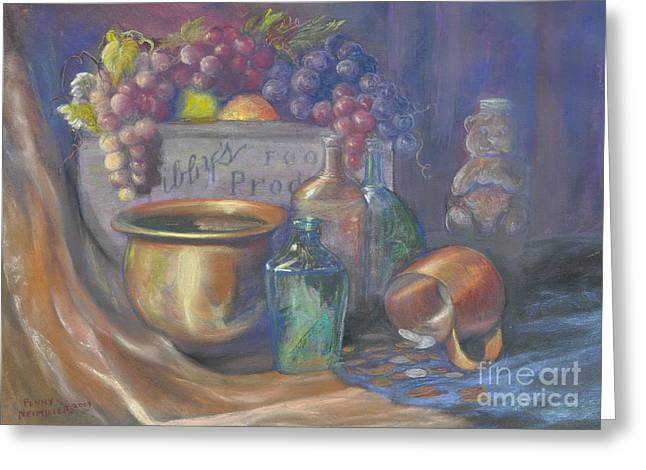 Still Life With Bottle Greeting Cards - Still Life Honey Bear Greeting Card by Penny Neimiller