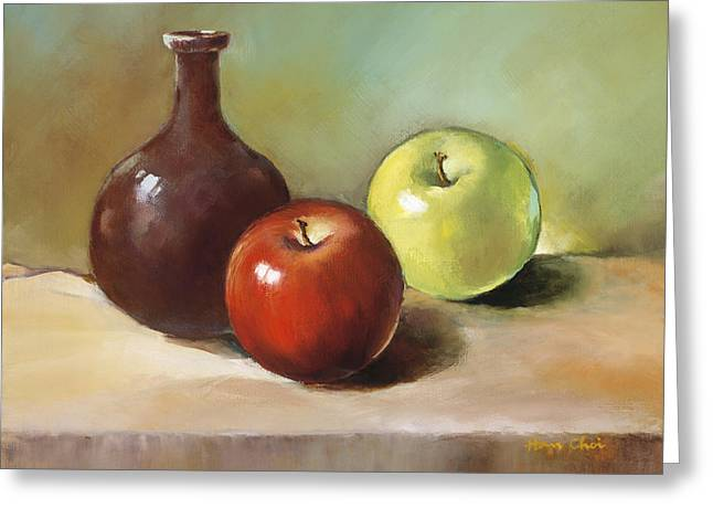 Apple Paintings Greeting Cards - Still Life I Greeting Card by Han Choi - Printscapes