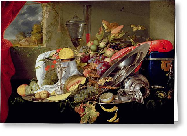 Melon Paintings Greeting Cards - Still Life Greeting Card by Jan Davidsz Heem