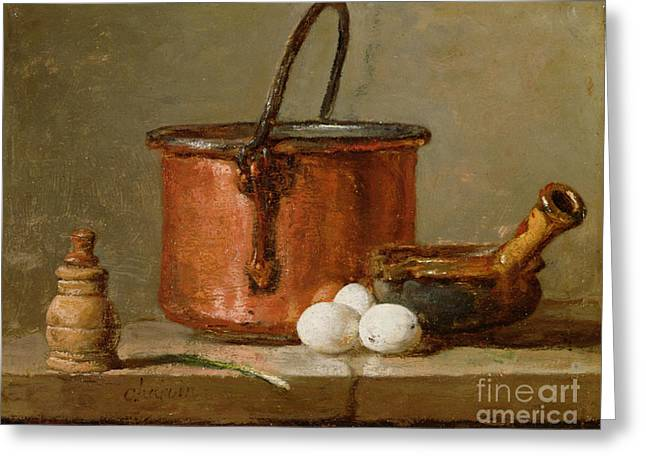 Still Life Glass Greeting Cards - Still Life Greeting Card by Jean-Baptiste Simeon Chardin